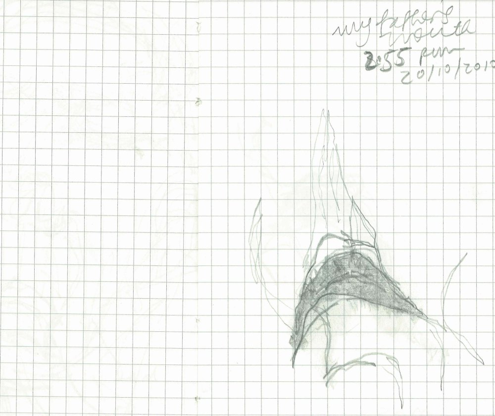 Dad's mouth, from A little book of breathing and My father's body in nine drawings, 2010 (in the collection of the Queensland State Library).